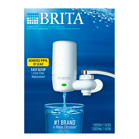 Brita On Tap Complete Water Faucet Filtration System with Light Indicator - White