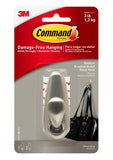 Command Forever Classic Medium Brushed Nickel Metal Hook – 3lb