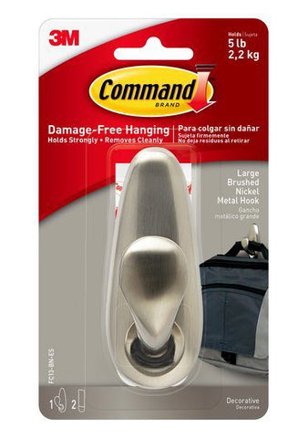 Command Large Forever Classic Brushed Nickel Metal  Hook – 5lb