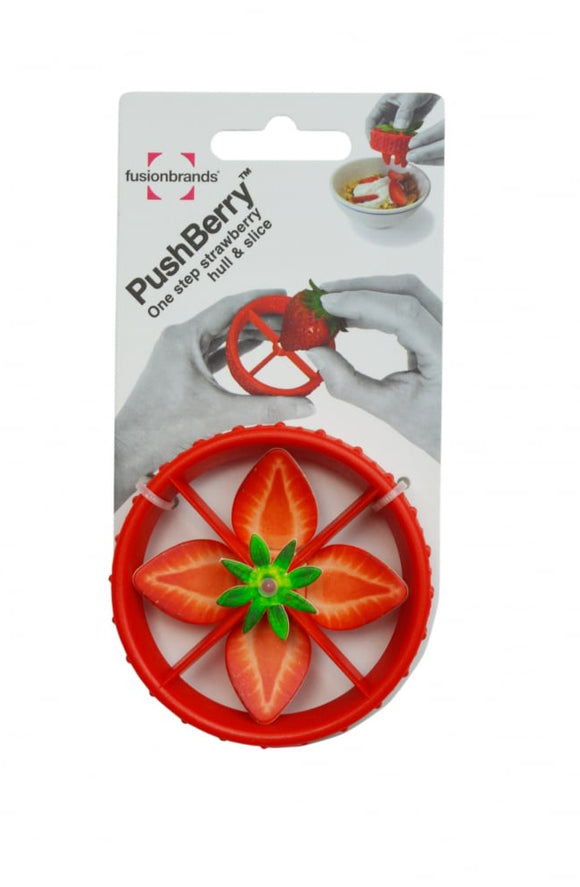 PushBerry 2-in-1 Strawberry Huller & Slicer