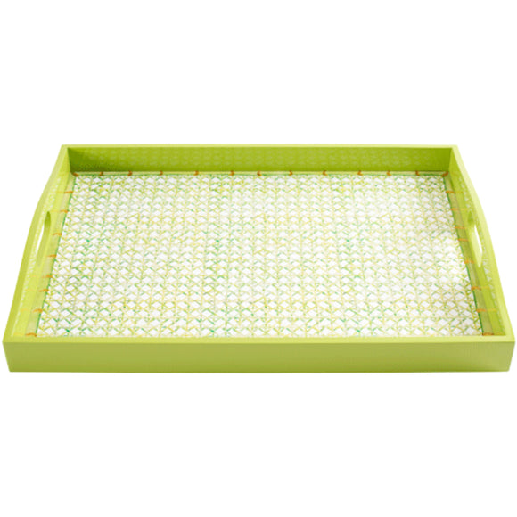 "Caspari Trellis-Green Lacquer Large Rectangle Tray – 21"" x 15"""