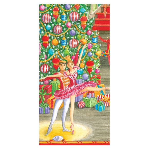 Caspari Christmas Ballet Facial Tissue Hankies – 10 Pack