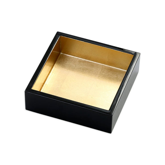Caspari Lacquer Cocktail Napkin Holder in Black & Gold