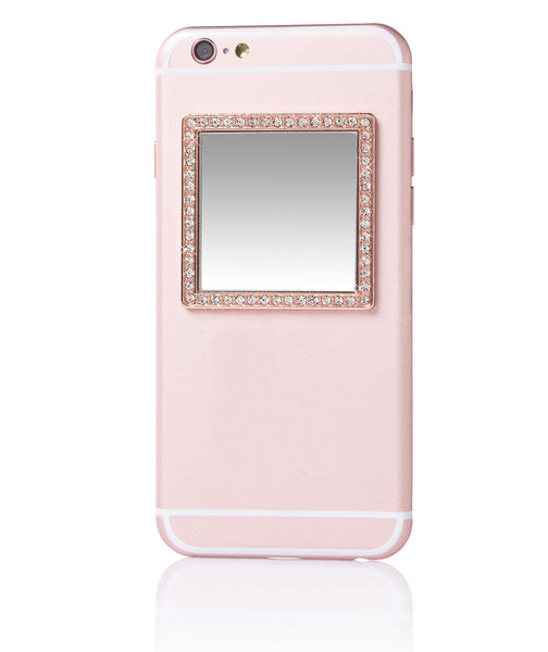 iDecoz Crystal Square Phone Mirror – Rose Gold