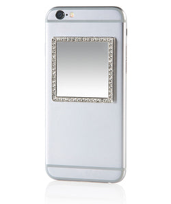 iDecoz Crystal Square Phone Mirror – Silver