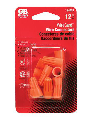 Twist-On Wire Connectors – 22-14 AWG – Orange – Pack of 12