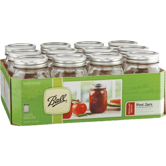 Ball Regular Mouth 16oz Mason Canning Jar – Case of 12