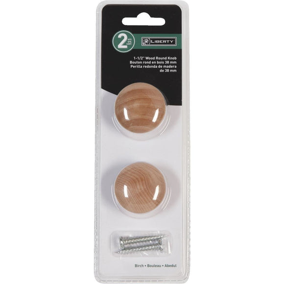 Light Wood Finish Knobs – Set of 2