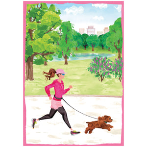 Caspari Mother's Day Card – Jogging – 1 Card & 1 Envelope