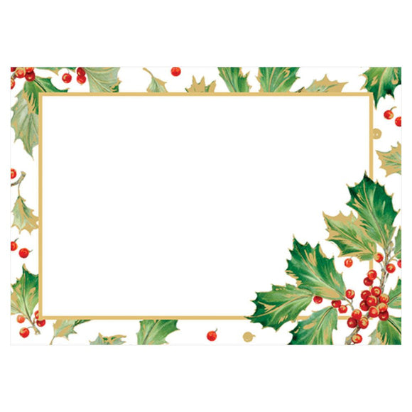 Caspari Gilded Holly Self-Adhesive Labels - 12pk