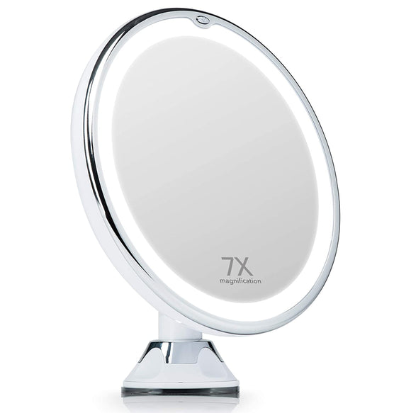 Maya Lighted 7x Magnifying Mirror with Suction Mount