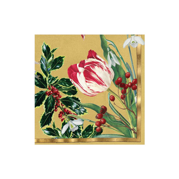 Caspari Winter Arrangement Gold Cocktail Napkins - 20pk