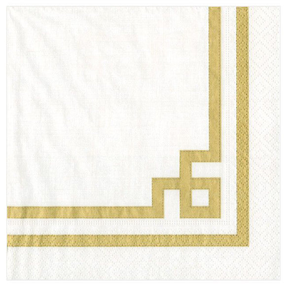 Caspari Rive Gauche Gold & White Cocktail Napkins – 20pk