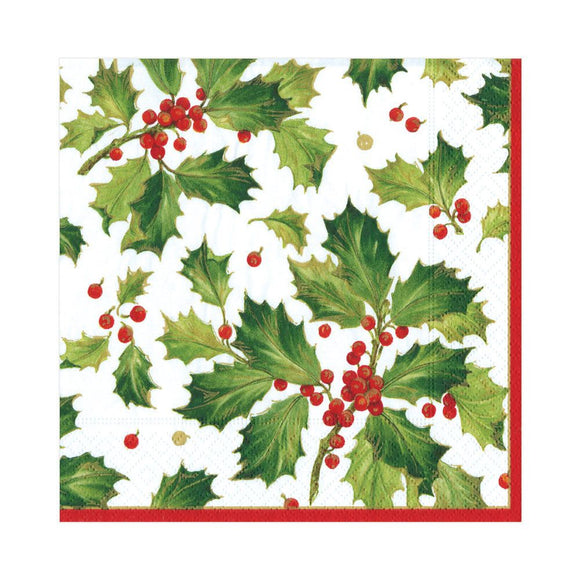 Caspari Gilded Holly White Luncheon Napkins - 20pk