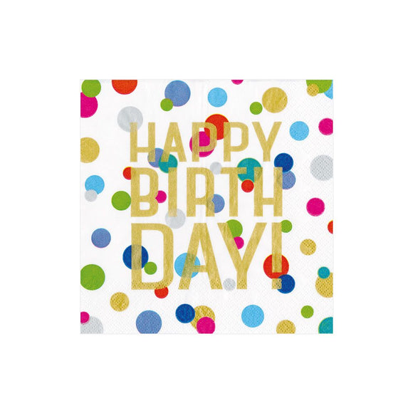 Caspari Happy Birthday Confetti Cocktail Napkins - 20pk