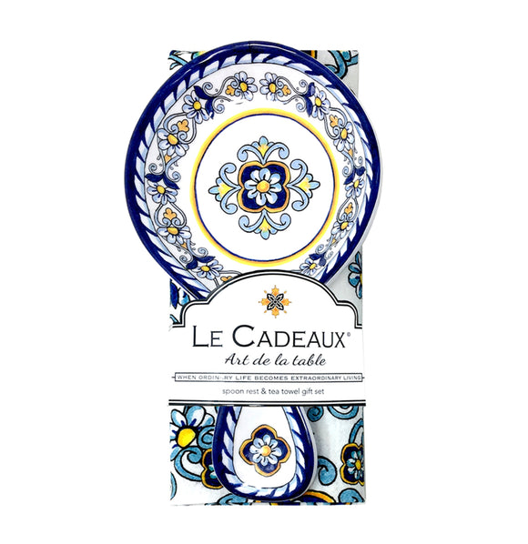 Le Cadeaux Spoon Rest With Tea Towel Gift Set – Sorrento