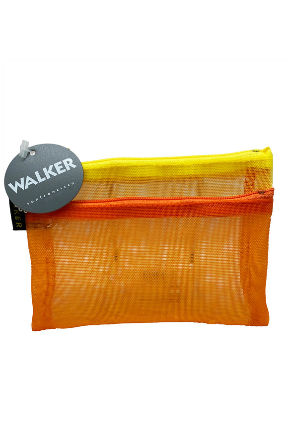 Walker Bags Color Mesh Double Zip Case  – Orange/Yellow – 5x7in