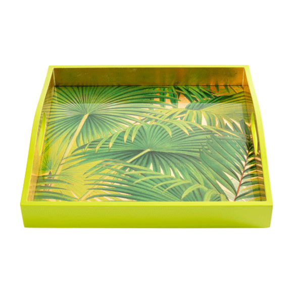 "Caspari Palm Fronds Gold Lacquer Square Tray – 14"" x 14"""