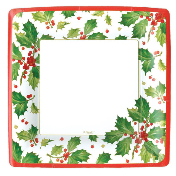 Caspari Berry Gilded Holly Square Paper Dinner Plates - 8pk