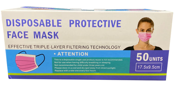 Disposable Face Mask – Pink – Box of 50