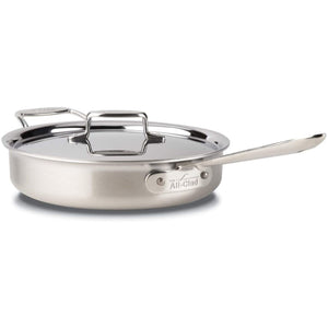 All-Clad D5 Brushed Stainless Steel Saute Pan With Lid – 3qt