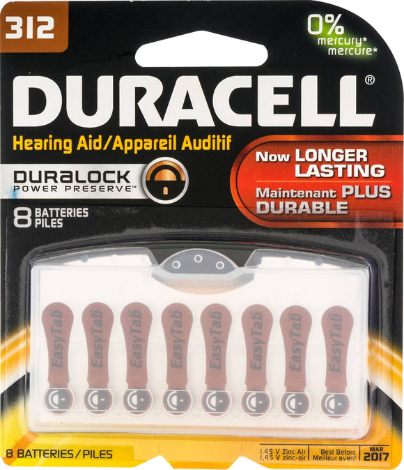 Duracell 312 Hearing Aid Batteries – Pack of 8