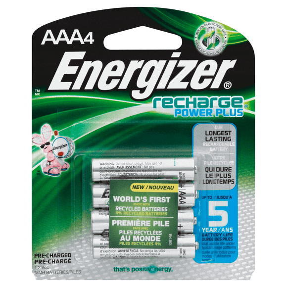 Energizer Rechargeable AAA Batteries – 4 Pack