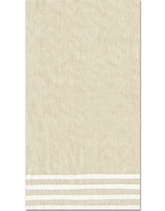 Caspari Stripe Border Natural Guest Towels - 15pk