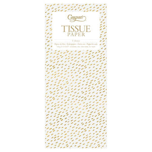 Little Dash Tissue Paper in White & Gold - 4 Sheets