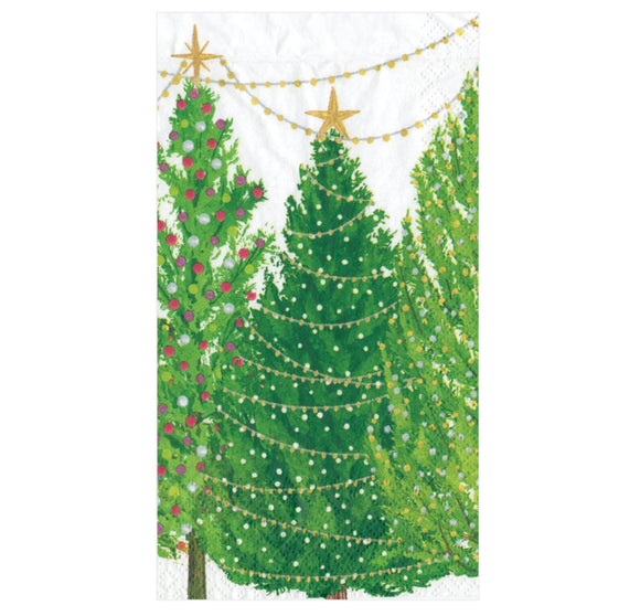 Caspari Christmas Trees with Lights Guest Towel - 15pk