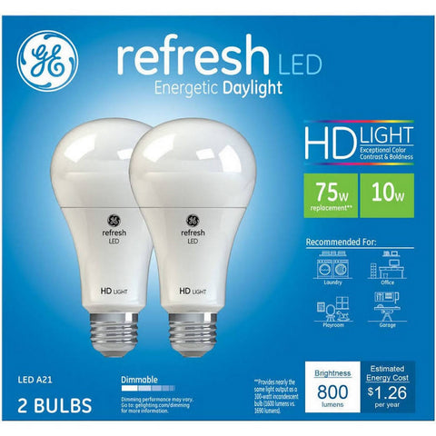 GE Refresh Daylight HD 75W Replacement LED Light Bulbs General Purpose A21 - 2 pk