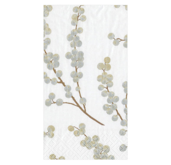 Caspari Berry Branches in White with Silver Guest Towel - 15pk