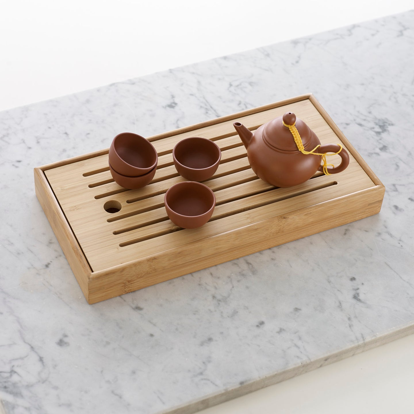 Bamboo tea tray and Jixing Shui Ping tea pot