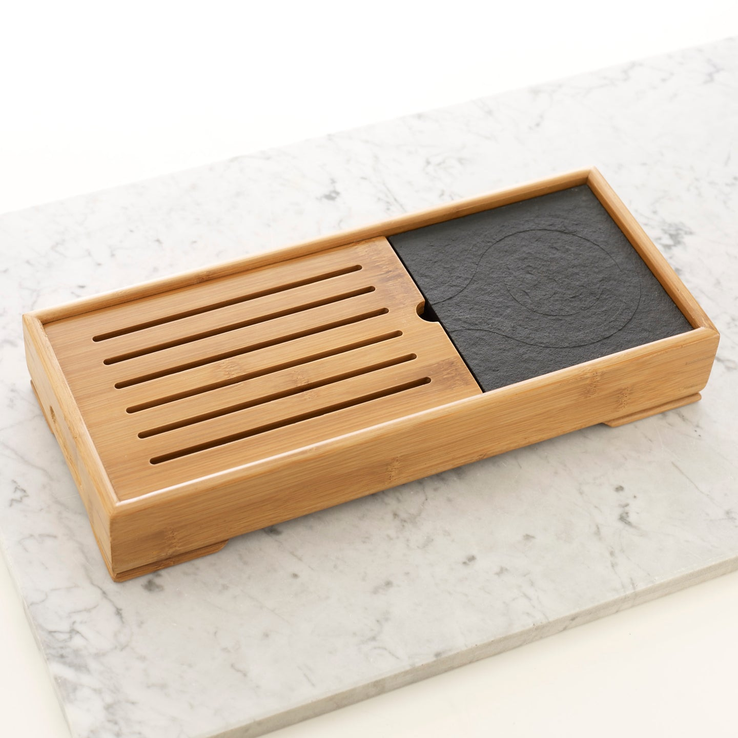 Large bamboo tea tray with stone