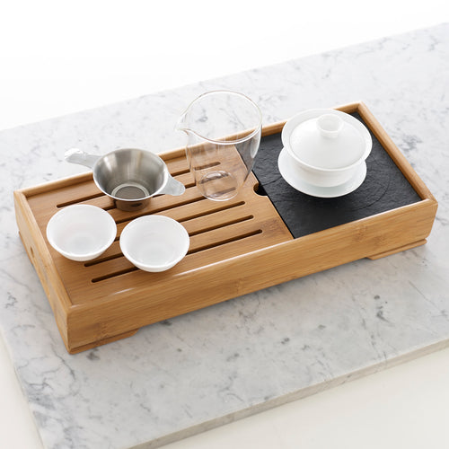 Large bamboo tea tray with Gaiwan tea pot, pitcher and strainer