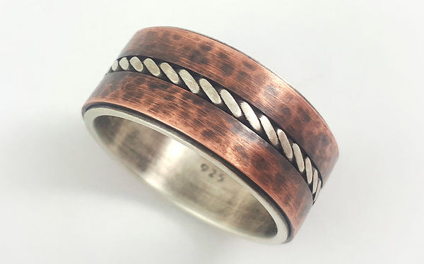 Silver copper rustic wedding band for men
