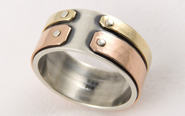 One-of-a-Kind Mixed Metals Men's Gold Ring, Handmade of Rose and Yellow Gold with Silver