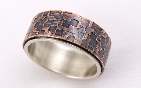Unique textured mens ring