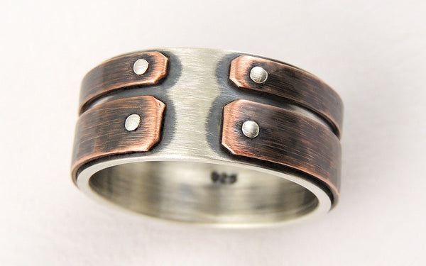 Industrial copper mens ring