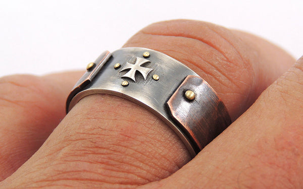 Unique templar cross wedding band - 14K Gold/Copper/Silver