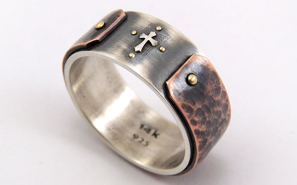 Unique mens cross ring - Silver/Copper/14K Gold