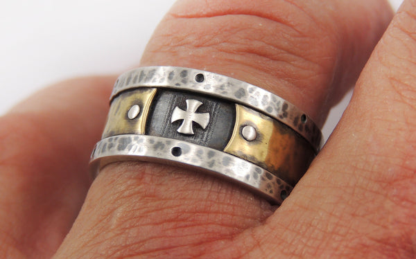 Mens Templar Cross Band Ring