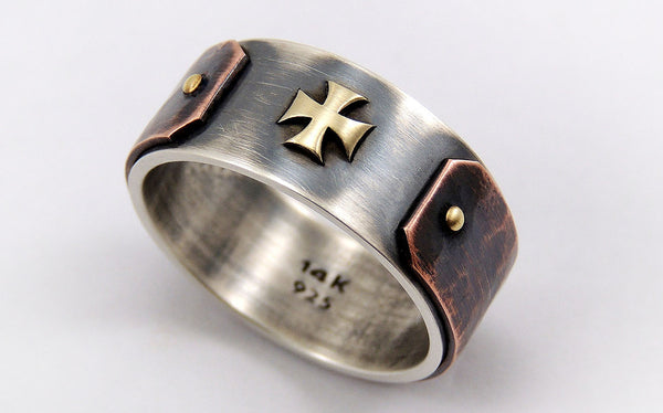 Templar Cross Ring For Men - Silver/Copper/14K Gold