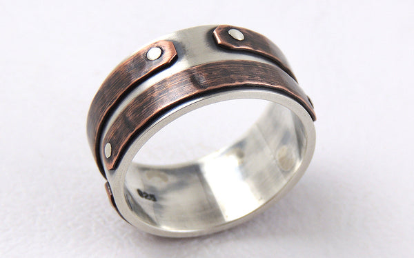 One-of-a-Kind Men's Rustic Band uniquely handmade of Silver and Copper