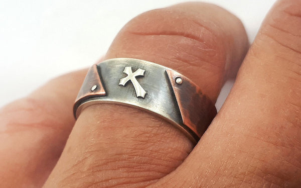 Men unique cross wedding ring