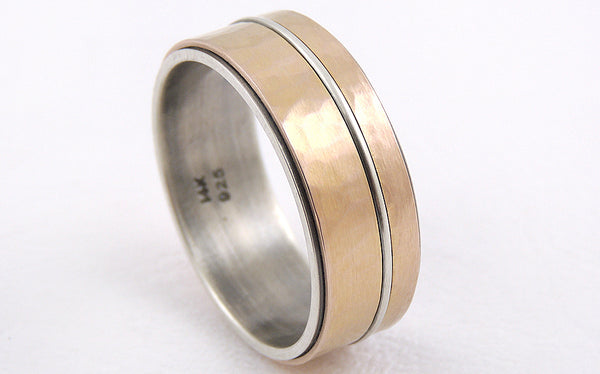 One-of-a-Kind Rustic Men's Gold Wedding Ring handmade of 14K Gold and oxidized Silver