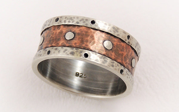Two-tone Men's Wedding Band with a unique rustic character