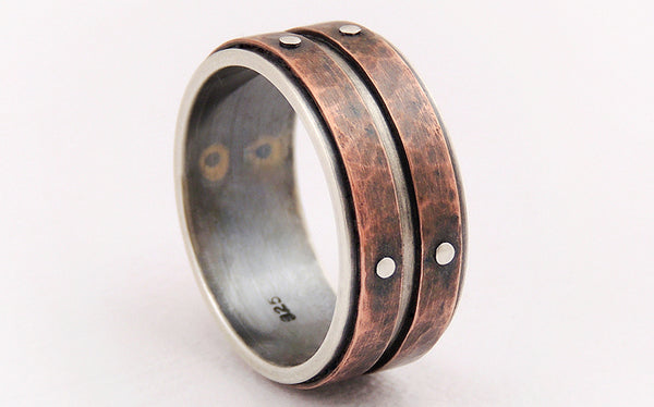One-of-a-Kind Rustic Men's Wedding Band Ring handmade of Silver and Copper