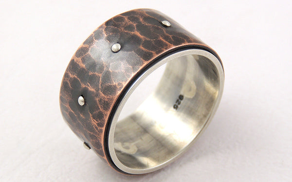 One-of-a-Kind Men's Wide Band Ring handmade of Silver and Copper