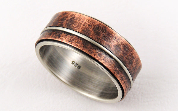 Mixed Metals Men's Wedding Ring, Two-tone Silver and Copper Men's Ring